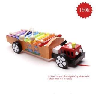 Đàn xe kéo ô tô – Đồ chơi gỗ kết hợp đàn