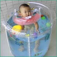 (Qúa_Hot))Set bể bơi siêu bền phao hình tròn kèm phao cổ, bơm chân cho bé sơ sinh