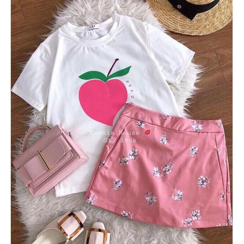 set áo thun hoa quả và chân váy