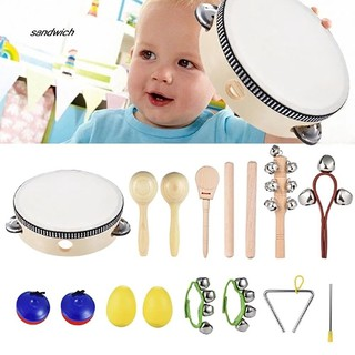 SDWC 10Pcs/Set Kids Musical Instrument Set Percussion Rhythm Toy Music Enlightenment