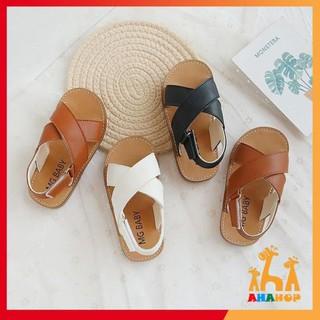 Dép cho bé trai bé gái – Dép sandal cho bé quai chéo thoáng chân chất da PU siêu mềm MG baby đế cao su mềm V532