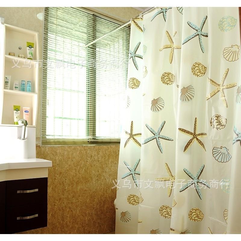 Rèm Nhà Tắm / Rèm Cửa Sổ Họa Tiết Vỏ Sò 1.8x1.8m