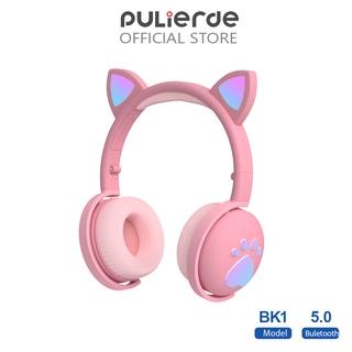 Tai Nghe Pulierde BK1 Kết Nối Bluetooth 5.0 Thiết Kế Tai Mèo Và Đèn LED Có Thể Gập Lại Được