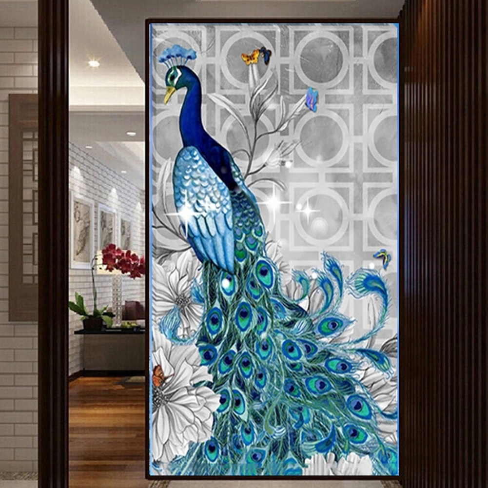 5D Diamond Embroidery Paintings, peacock cross stitch, rhinestone pasted
