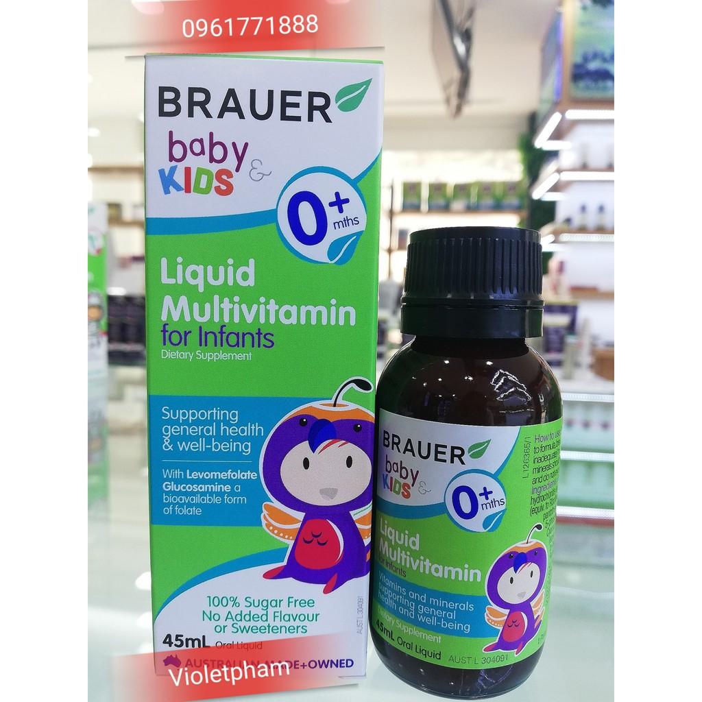 Sản phẩm bổ sung Vitamin tổng hợp Brauer Úc cho trẻ sơ sinh (45ml)
