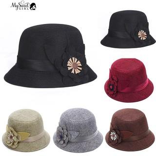 Mũ nữ vải lanh in họa tiết hoa