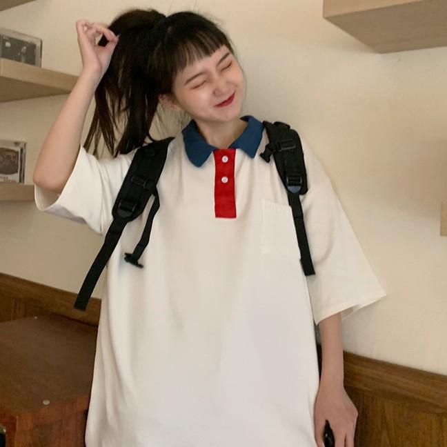 Áo Thun Cổ Polo Ngắn Tay Có Cổ Phong Cách Hàn Quốc Cho Nữ