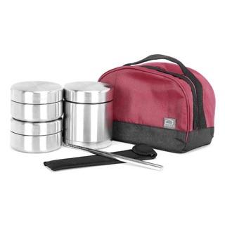 Bộ hộp cơm giữ nhiệt lock&lock LHC8015, gồm 3 hộp bằng inox kèm đũa và túi giữ nhiệt