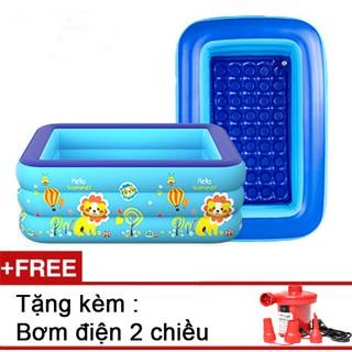 Bể bơi phao 3 tầng 1m5, tặng kèm bơm điện,phao đỡ cổ cho bé