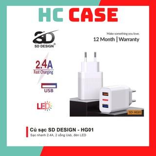 Củ sạc nhanh SD DESIGN HG01 với 2 cổng USB sử dụng cho các dòng máy Iphone, Samsung, Oppo,.. Bảo hành 12 tháng-hc case thumbnail