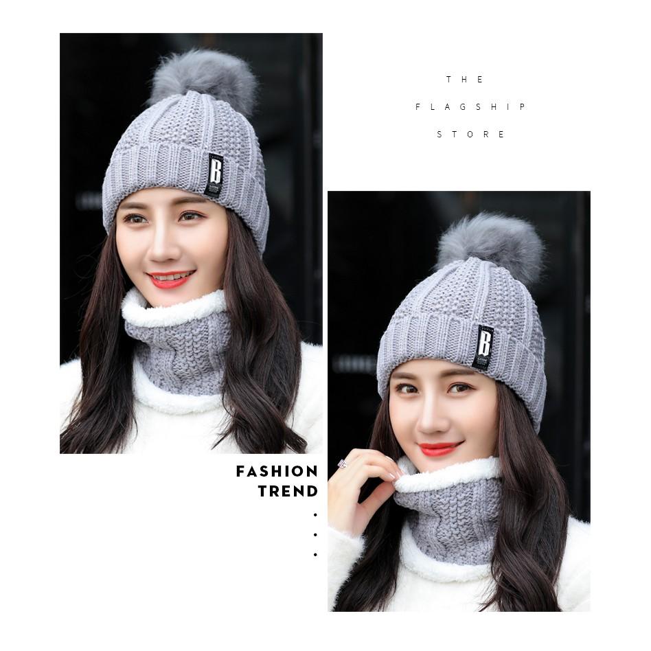 Mũ Len Lót Nhung Ấm Áp Thiết Kế Xinh Xắn Phong Cách Hàn Quốc Hợp Thời Trang Cho Bạn Gái