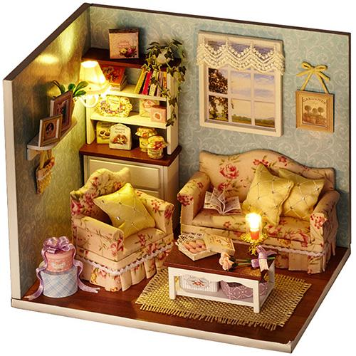 HW DIY Handmade Dollhouse Cottage Miniature Model Gift Collection
