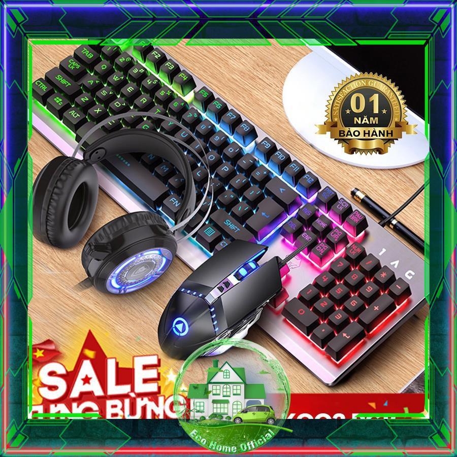 (Nháy Led Theo Nhạc) Combo Bộ Bàn Phím Giả Cơ K002 Black RGB - Tai nghe Gaming - Chuột Gaming - Pad Chuột ( BH 1 năm )