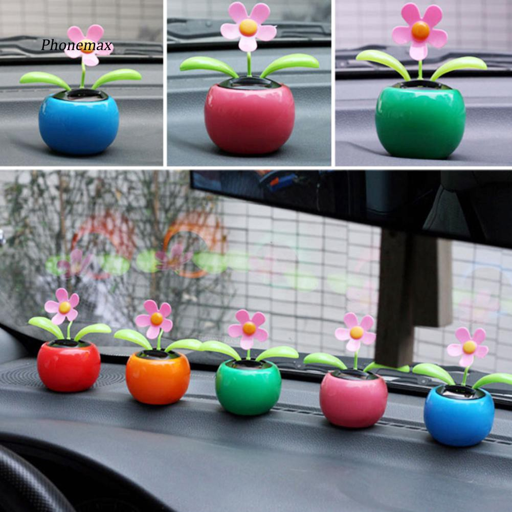 PNMX_Solar Powered Dancing Flower Flip Flop Leaves Car Display Dashboard Toy Gift
