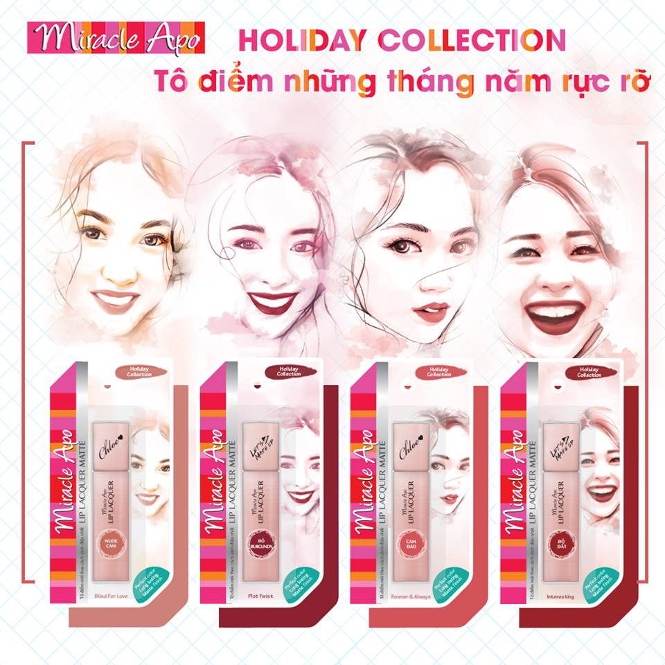 Son kem lì Miracle Apo Lip Lacquer Matte Holiday Collection 3ml