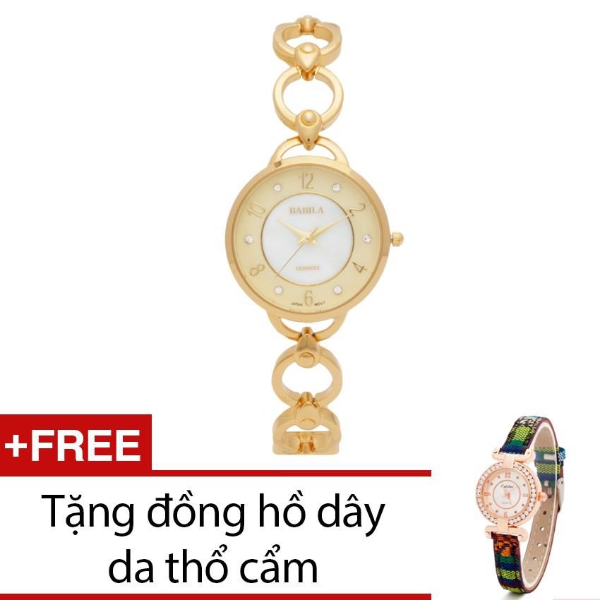 Đồng hồ nữ Babila dây kim loại vàng tặng kèm 1 đồng hồ thổ cẩm - 2440232 , 101039180 , 322_101039180 , 999000 , Dong-ho-nu-Babila-day-kim-loai-vang-tang-kem-1-dong-ho-tho-cam-322_101039180 , shopee.vn , Đồng hồ nữ Babila dây kim loại vàng tặng kèm 1 đồng hồ thổ cẩm