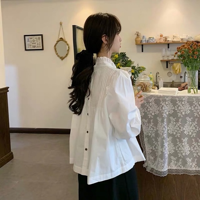 Áo Sơ Mi Kiểu Nữ Thiết Kế Cổ Áo Đứng Tay dài Form Rộng Kiểu Pháp Phong Cách Hàn Quốc Áo sơ mi Trắng nữ kiểu Ulzzang