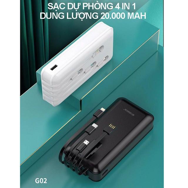 [HOT] Pin Sạc Dự Phòng SD G02 Tích Hợp 4 Cáp Sạc Micro, Lingtning, TypeC Cho Xiaomi Samsung IPhone Dung Lượng 20.000mAh