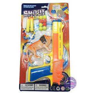 Vỉ đồ chơi sung bắn đạ n mút xốp mềm 8 banh & thú rừng