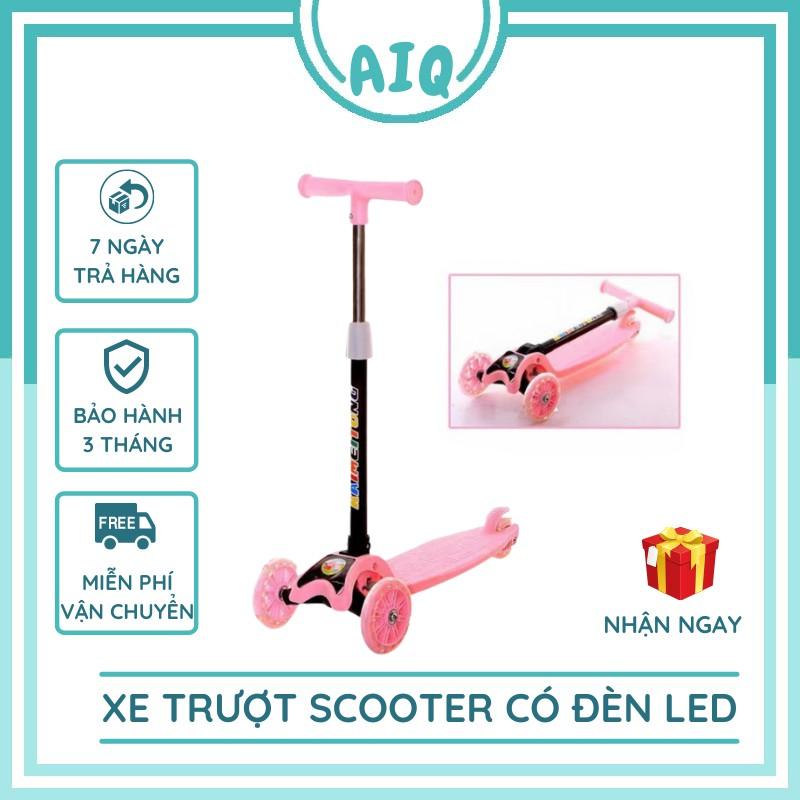 Xe trượt scooter 3 bánh chịu lực cho bé gấp gọn tiện lợi mang đi du lich, bánh xe phát sáng nhiều màu AIQ