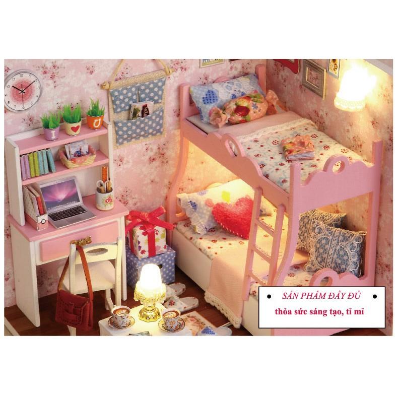 Bộ lắp ghép mô hình nhà gỗ căn phòng màu hồng xinh xắn cho bé