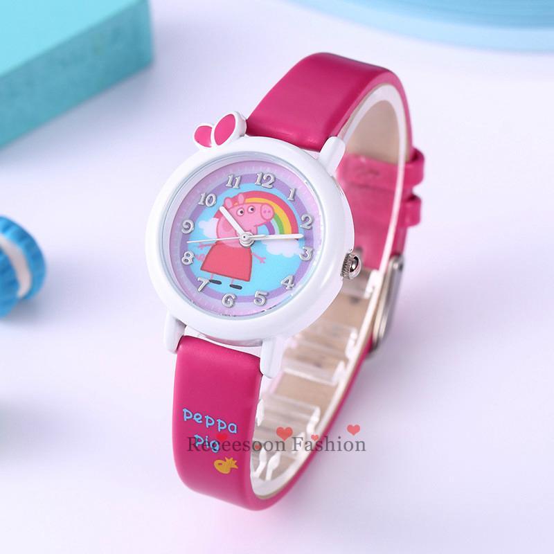 Đồng hồ đeo tay hoạt hình heo Peppa xinh xắn dành cho bé gái thumbnail
