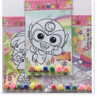 Set 5 tranh vẽ, 6 hộp màu nước và cọ tập tô màu cho bé