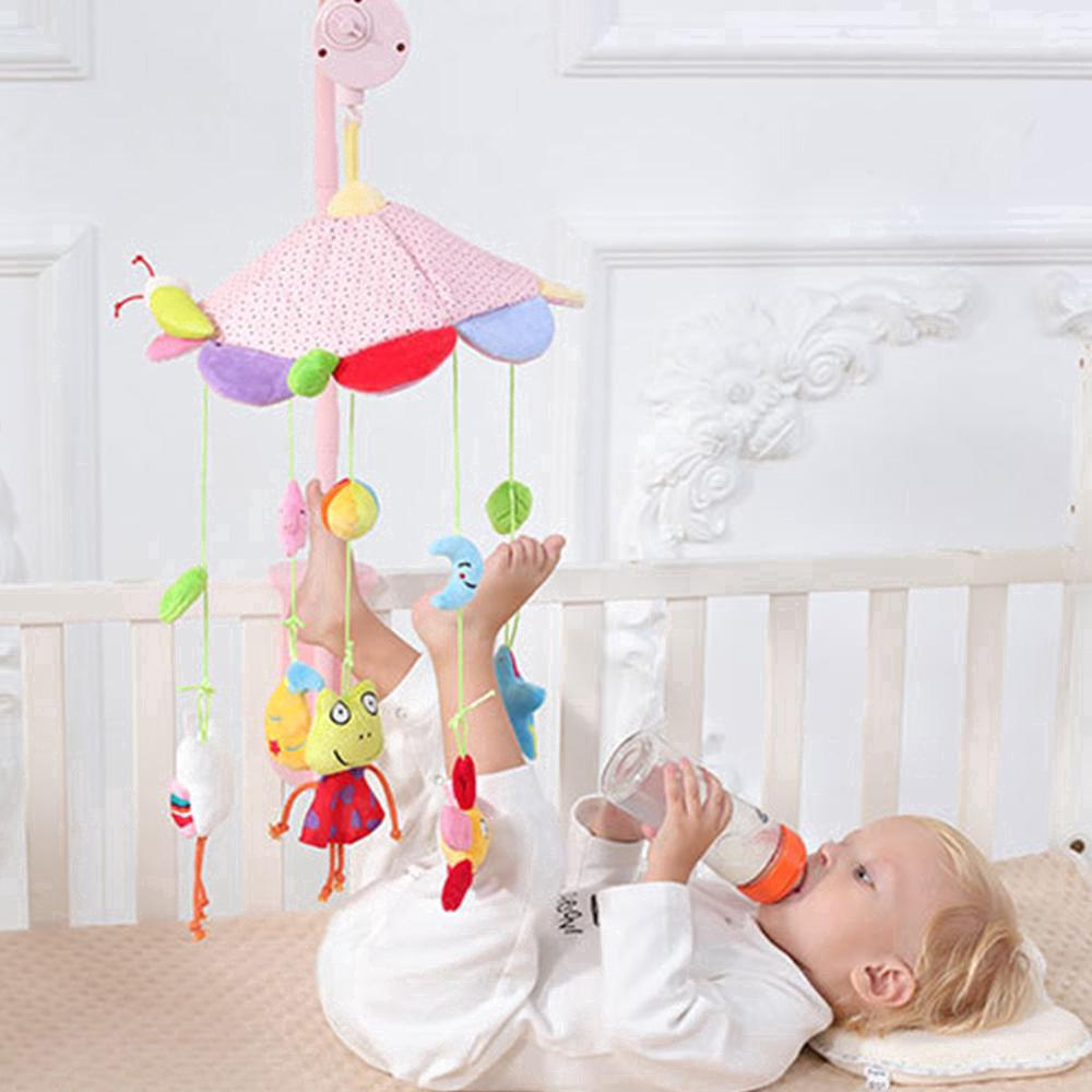 Colorful Rattle Newborn Mobile Baby Bed Bell Rotating Music Box Plush Toys