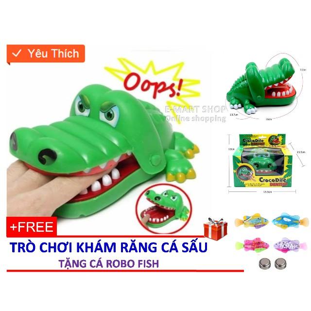 Bộ đồ chơi khám răng cá sấu Xanh (Loại SIZE to) + Tặng cá Robo Fish mầu ngẫu nhiên