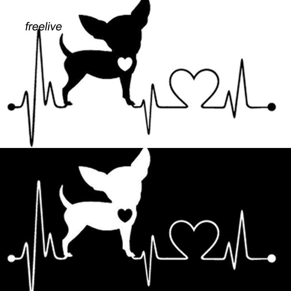 FLE_Cute Cartoon Electrocardiogram Heart Dog Car Styling Window Sticker Decal Decor