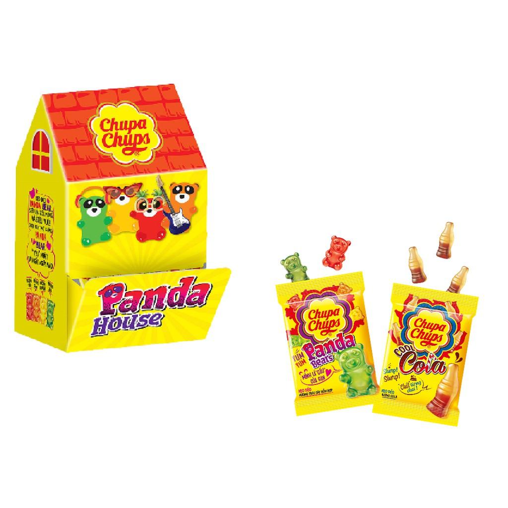 Combo kẹo dẻo Chupa Chups Panda House gồm 10 gói  vị Cola và 10 gói vị Panda (24g/