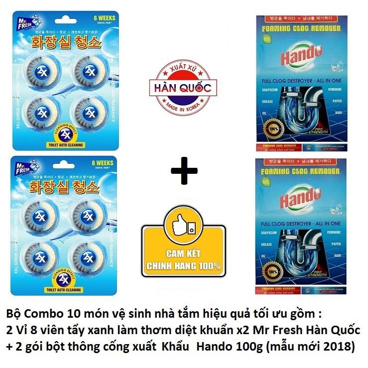 Combo 10 món vệ sinh gồm 8 Viên tẩy bồn cầu Mr Fresh + 2 Gói bột thông cống xuất khẩu Hando - 2721011 , 161350796 , 322_161350796 , 140000 , Combo-10-mon-ve-sinh-gom-8-Vien-tay-bon-cau-Mr-Fresh-2-Goi-bot-thong-cong-xuat-khau-Hando-322_161350796 , shopee.vn , Combo 10 món vệ sinh gồm 8 Viên tẩy bồn cầu Mr Fresh + 2 Gói bột thông cống xuất khẩu