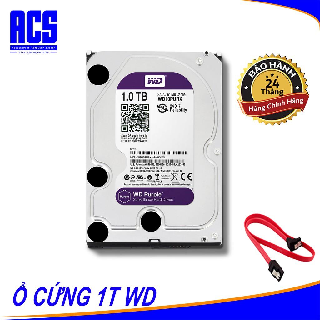 Ổ Cứng Western Digital WD Purple Tím WD10PURX 1TB- Bảo Hành 24 Tháng Giá chỉ 764.250₫
