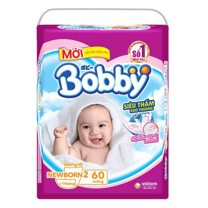 [MKBOB11 -8%][Tặng Set Mũ Yếm, Khăn Xô & Bao Tay Sơ Sinh] Combo 01 Miếng lót Bobby Newborn 2-60 + 01 Tã Dán Bobby S56
