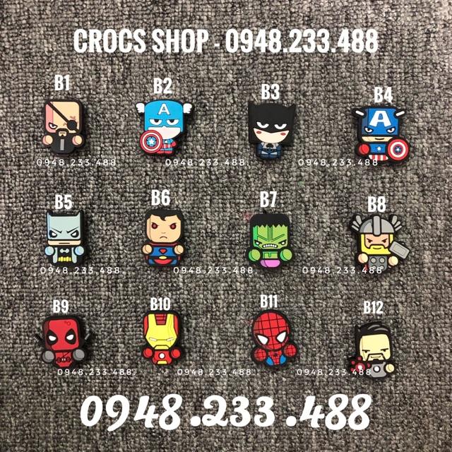 Jibbitz-icon-charm-sticker cài dép Siêu nhân (B1-B19). Shop ship từ 10 sản phẩm trở lên