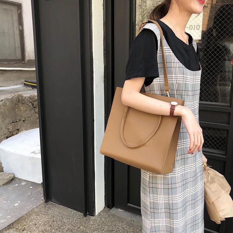 [SẴN- CÓ VIDEO] Túi đeo vai tote da chữ nhật vừa A4 - P002