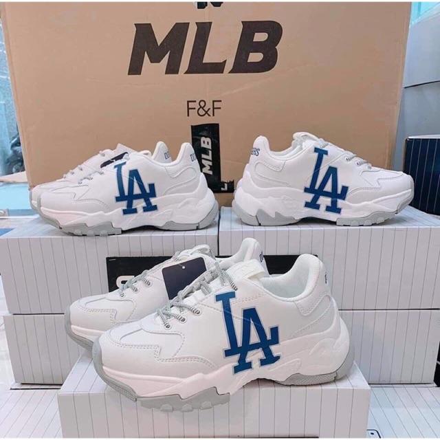 ⚡️[Cực chất] Giày BÓNG CHÀY chunky MLB Hàn Quốc  trắng mlb phối chữ LA xanh  hàng đang hot