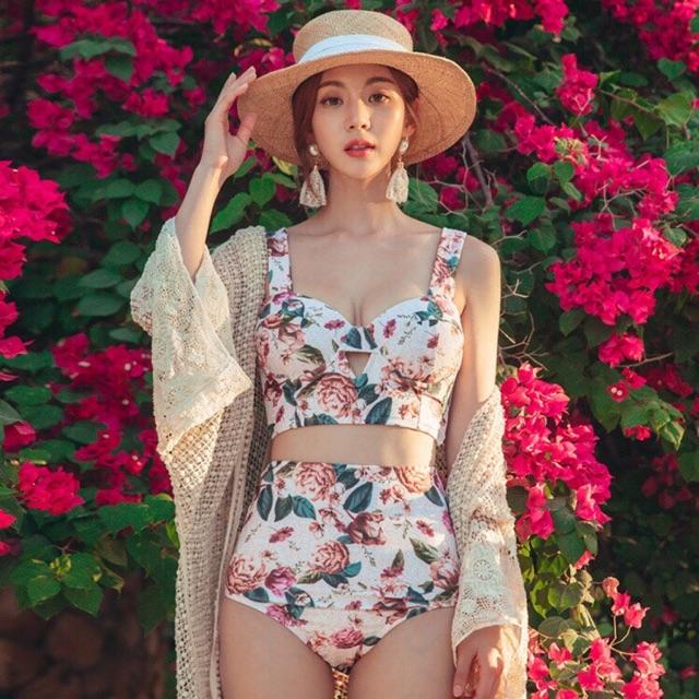 [CLIP- ẢNH THẬT] Bikini hoa cạp cao Quảng Châu