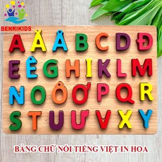 Đồ Chơi Gỗ Bảng Chữ Nổi Tiếng Việt In Hoa
