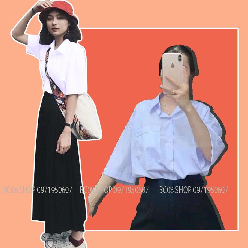 Áo Sơ Mi Trắng Tay Lỡ Có Túi basic Unisex chất vải lụa mềm mịn form rộng full size