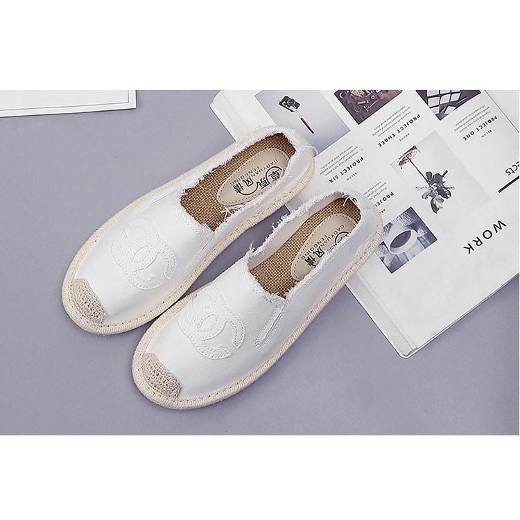 Slip on cói nữ - Giày lười vải nữ cao cấp - Vải thô 4 màu đen, trắng, vàng và xanh lá - Mã SP 310