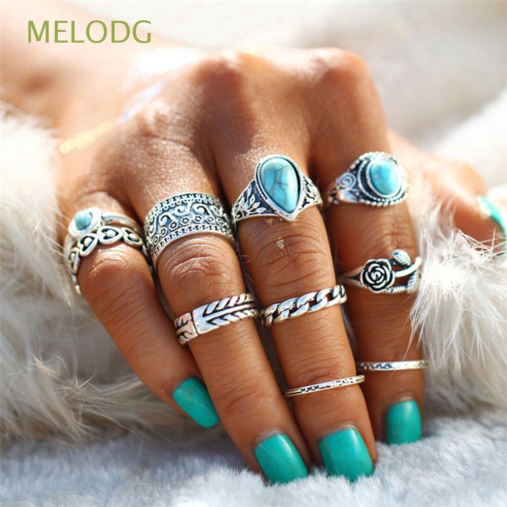 MELODG 10Pcs Women Fashion Beach Jewelry|Plated Vintage Knuckle Midi Ring Set - 21898735 , 6602323098 , 322_6602323098 , 42200 , MELODG-10Pcs-Women-Fashion-Beach-JewelryPlated-Vintage-Knuckle-Midi-Ring-Set-322_6602323098 , shopee.vn , MELODG 10Pcs Women Fashion Beach Jewelry|Plated Vintage Knuckle Midi Ring Set