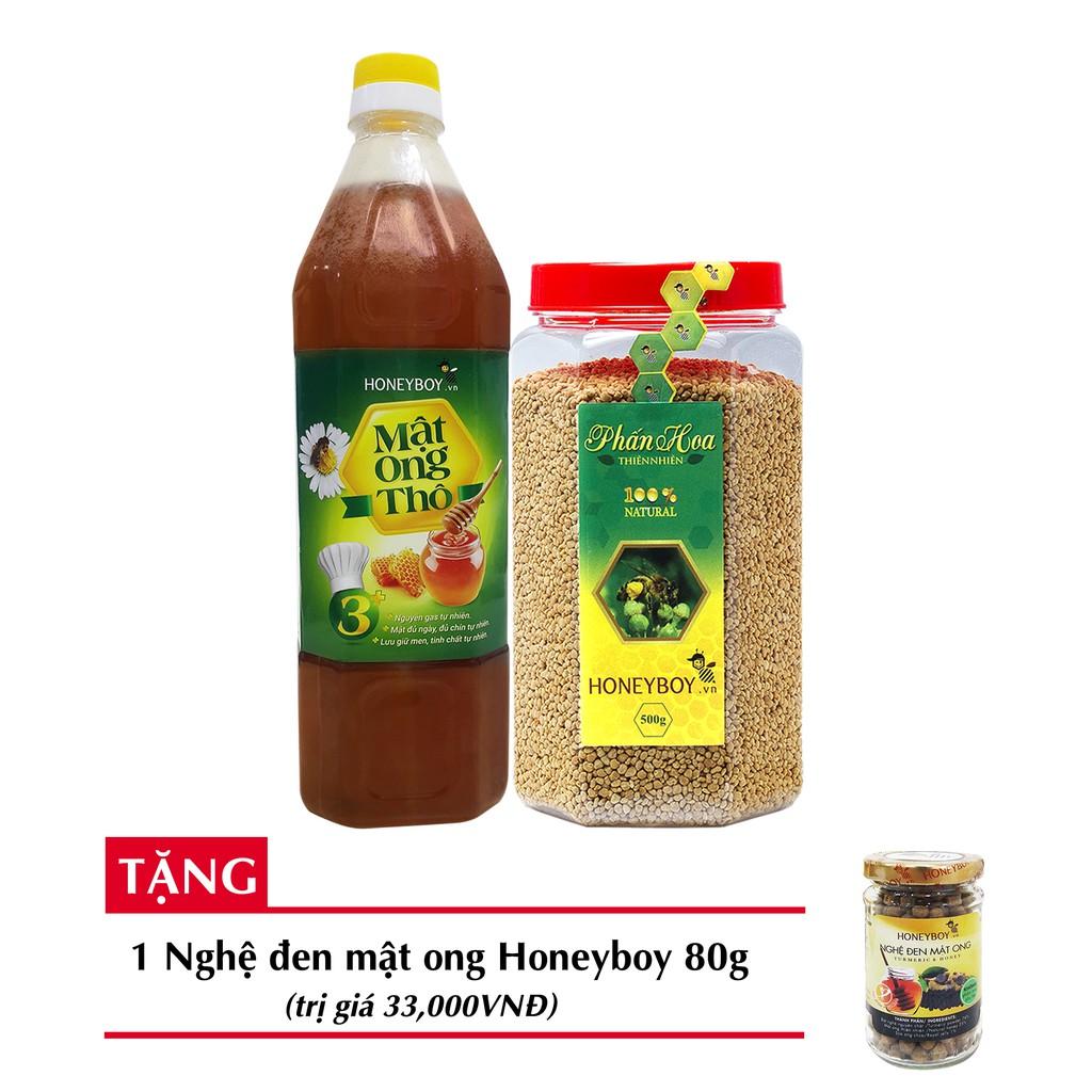 [Độc quyền]Bộ 2 Mật ong thiên nhiên HONEYBOY1kg +Phấn hoa thiên nhiên HONEYBOY500g + tặng 1 Nghệ đen