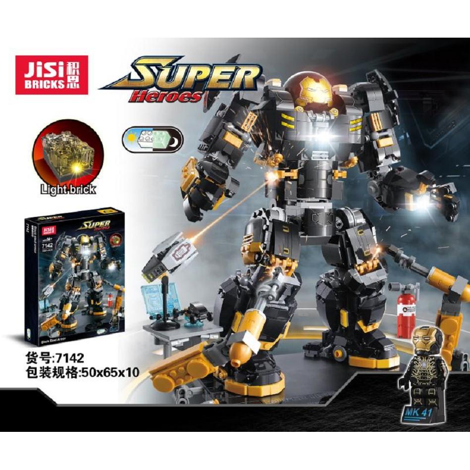 (HÀNG CÓ SẴN) Bộ lắp ráp Lego Marvel Superheroes Ironman USC Hulkbuster Black Steel Armor JisiBricks 7142