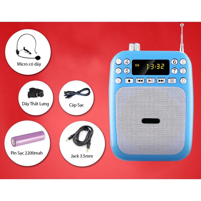 Máy trợ giảng cắm USB phát nhạc tặng kèm nguồn + mic nói âm thanh to rõ không rè hú...