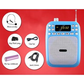 Máy trợ giảng cắm USB phát nhạc tặng kèm nguồn + mic nói âm thanh to rõ không rè hú [freeship] B0147