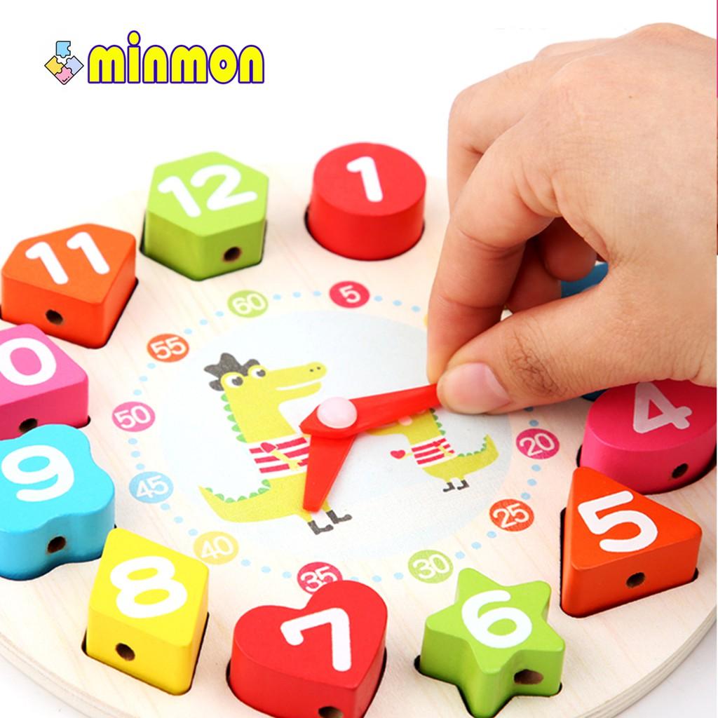 Đồ chơi xếp hình gỗ MINMON kiểu đồng hồ cho bé - CY209773