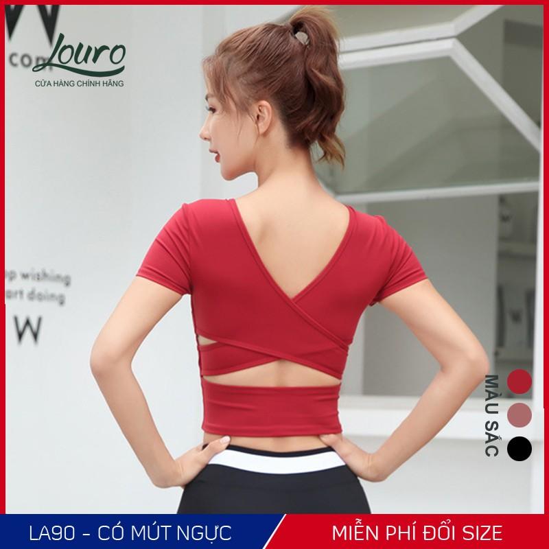 Mặc gì đẹp: Dẻo dai với Áo tập gym, yoga nữ Louro kiểu áo croptop body cổ tim chéo lưng, hợp tập thể thao, zumba, yoga, gym, vải co giãn -FA90