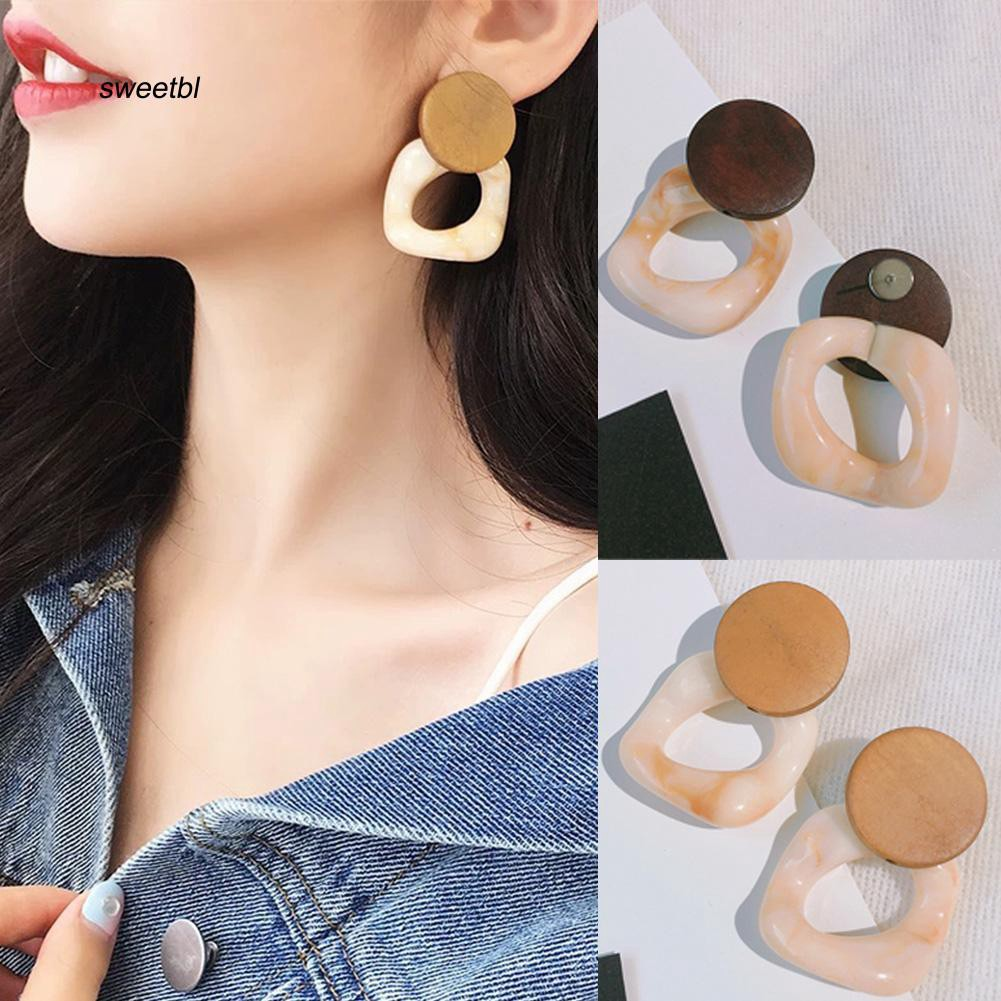 SWTB_Fashion Women Big Dual Color Hollow Square Drop Ear Stud Earrings Jewelry Gift