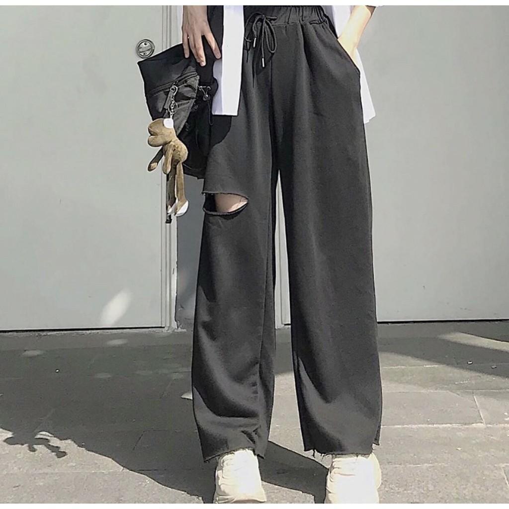 Quần ống rộng nữ  Quần ống rộng nữ, quần ống rộng đen  Quần baggy nữ  Quần baggy nữ lưng cao - NhimShop QD03